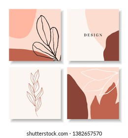 A set of four square design templates with abstract shapes, botanical illustrations and sample text. Trendy and feminine social media posts, newsletter design in brown, pastel pink, white and black.