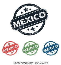 Set of four stamps with name Mexico and stars, isolated on white