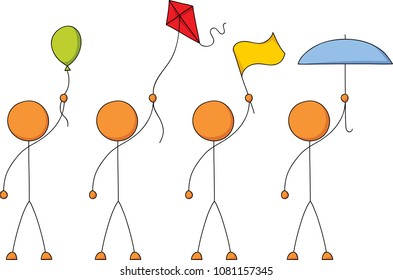 A set of four stick figures holding a collection of objects above their head including a balloon, kite, flag and umbrella.