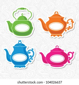 Set of four stickers with bright and colorful teapots and curls on background