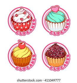 Set of four stickers with different cupcakes. Vector logo template isolated on a white background.