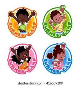 Set of four stickers with happy african american kids. Logo template for kids summer camp. Vector illustration isolated on a white background.