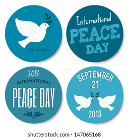 A set of four stickers for the International Day of Peace, isolated on white background. EPS10 file.