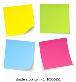Set Of Four Sticky Notes Color Mix