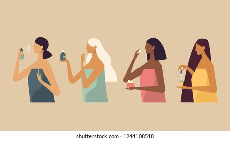 Set of four stylish beautiful women with different race, skin and hair color. They use different types of cosmetic bottles of natural cream for body and face care and beauty. Flat design.