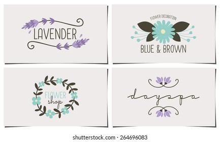 A set of four stylish and elegant business card templates. Hand drawn floral design elements in pastel blue, violet and dark brown. Fashion, florist, spa, beauty salon design identity concepts.