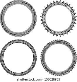 Set of four stylish round frames