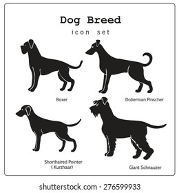 Set of four stylized dog breeds icons. All objects are conveniently grouped