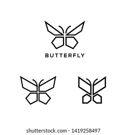 bf7f04a9c Set of four stylized geometric butterfly symbols, celtic knot style tattoo  design or logo.