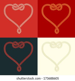Set of four stylized heart rope shaped with knot, on colorful backgrounds