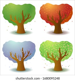 Set of four stylized trees in different seasons of the year. Game UI flat. Template for logo design, decorating clothes, build 2D games or postcards. Isolated stock illustration on white background.