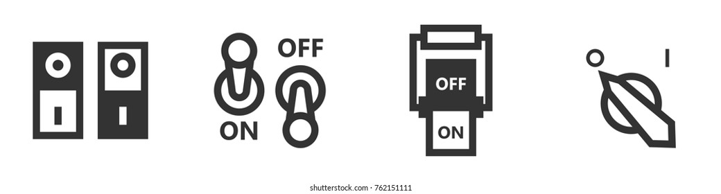 Set of four switch icons in simple style. Greate to use in web, mobile application, or other app. Vector illustration of isolated design elements.