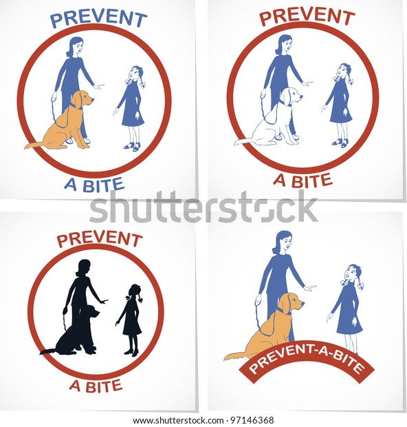 Set of four symbols for prevent a bite  action