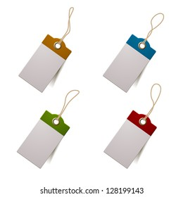 Set of four tags, eps10 vector with transparent shadows