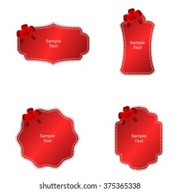 A set of four tags with red bows on a red background. Vector