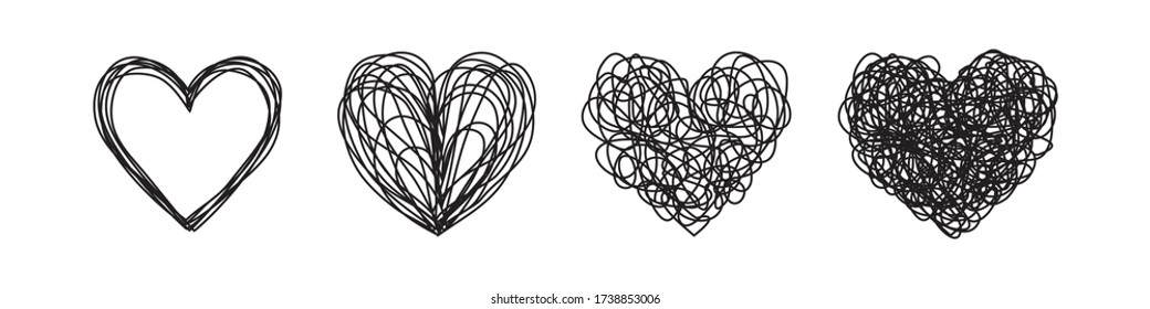 Set of four tangled grungy heart scribbles hand drawn with thin line. Isolated on white background. Vector illustration