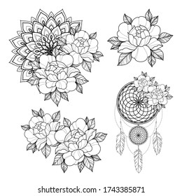 Set of four tattoo sketch with peony flowers, mandala and dreamcatcher amulet for Henna drawing and tattoo template. Animal tattoo. Vector illustration