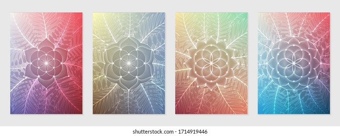 "Set of four template for card or poster, vertical format; Spiritual abstract sacred geometry on gradient backgrounds; ""Flower of life"", lotus, plants and palm leaves; Yoga, meditation and relax."
