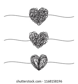 Set of four three grungy heart scribbles hand drawn with thin line, divider shape. Isolated on white background. Vector illustration