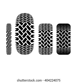 Set of four tire track silhouettes isolated on white background