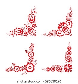 Set of four traditional folk ornaments, hungarian decorative pattern, red embroidery isolated on a white background, vector illustration
