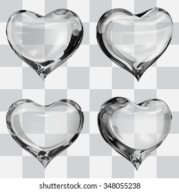 Set of four transparent hearts in gray colors