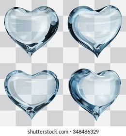 Set of four transparent hearts in light blue colors