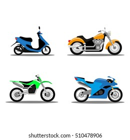 Set of four types of motorcycles in flat design, vector, isolated, moto, bike