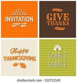 A set of four typographic design cards for Thanksgiving Day.