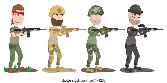 Set of four US soldiers of different wars. American soldiers with gun. Cartoon soldiers