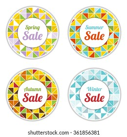 Set of four vector abstract seasonal sale labels in polygonal style.