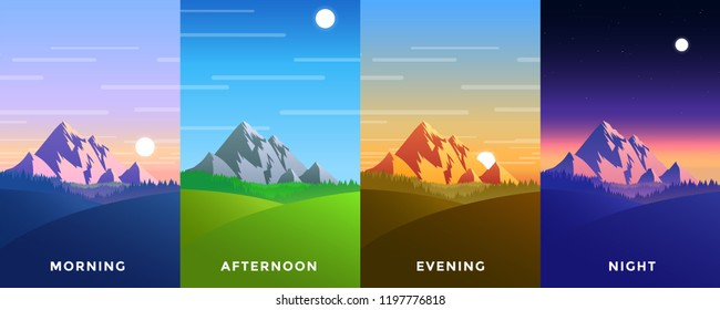 Set of four vector background of times of the day. Beautiful mountain landscape with colorful sky. Background in flat cartoon style - polygonal landscape illustration. Bright colors.