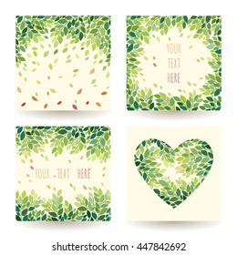 Set of four vector backgrounds with leaves and twigs. Floral patterns collection