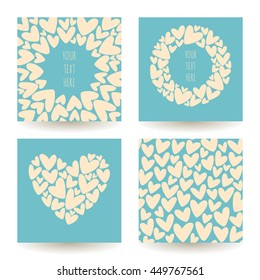 Set of four vector backgrounds made of hearts. Romantic patterns collection