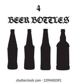 Set of four vector beer bottle icons