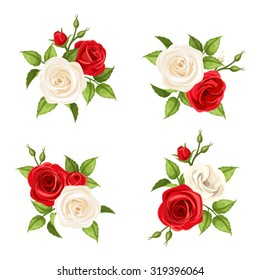 Set of four vector bouquets of red and white roses isolated on transparent background.