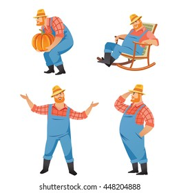 Set of four vector cartoon illustration of farmer wearing straw hat and overall using garden tools for various agriculture activities isolated on white background.
