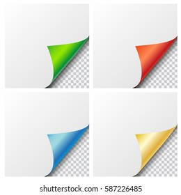 Set of four vector colorful shiny curled paper corners with transparent background