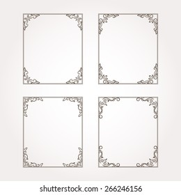 Set of four vector decorative floral frames and page decorations
