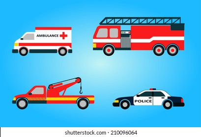 Set of four vector emergency vehicles including ambulance firetruck police tow truck isolated