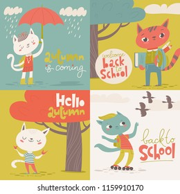 Set of four Vector flat vintage style welcome back to school cards with cartoon animals. Cats and foxes.