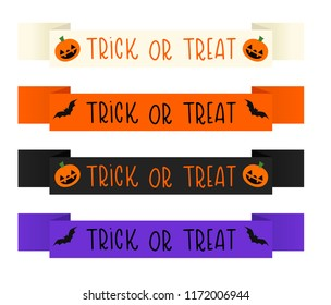 Set of four vector Halloween trick or treat banners