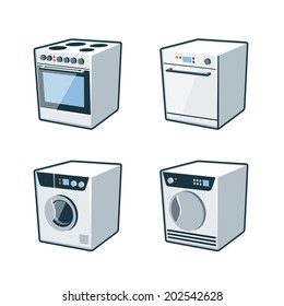Set of four vector icons of an oven cooker, dishwasher, washing machine and dryer