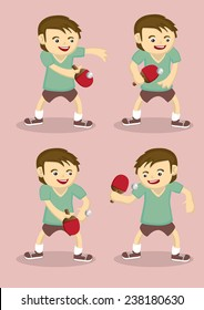 Set of four vector illustration of a young table tennis player with a bat and ping pong ball in cartoon style isolated on pink plain background.