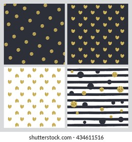 A set of four vector illustrations with hearts and black and gold polka dots of different sizes and black stripes on different-coloured backgrounds