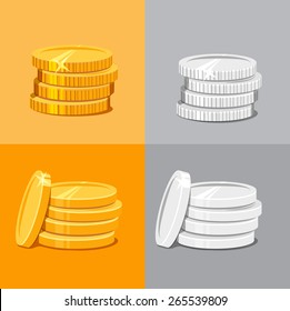 Set of four vector illustrations of stacked silver and gold stacked coins in two variations with and without a coin leaning against the pile