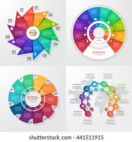 Set of four vector infographic templates. Business, education, industry, science concept with 10 values, options, parts, steps, processes.