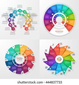 Set of four vector infographic templates. Business, education, industry, science concept with 11 values, options, parts, steps, processes.
