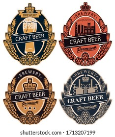 Set of four vector labels for craft beer of the private brewery in retro style in form of coat of arms. Labels with wheat or barley ears, hops and crown in oval frame
