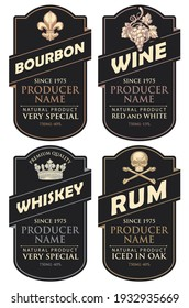 Set of four vector labels for various alcoholic beverages in the figured frames. Black labels for bourbon, wine, whiskey and rum in retro style on a light background